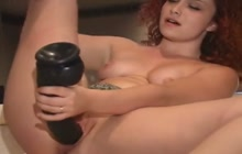 Red haired girl and her big sex toy