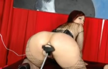 Big Ass Fishnet Babe Fucked By A Machine