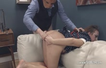 Girl with deep throat fucked with sex toy