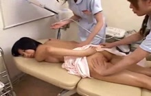 Two Asian nurses playing with hairy pussy
