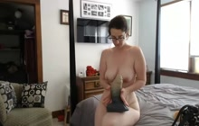 In play with monster dildo
