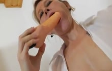 Horny teacher toying her pussy